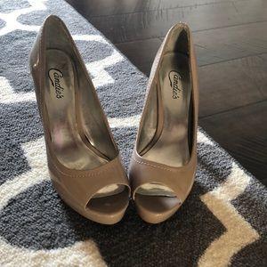 Candies peep toe nude heels